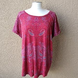 Lucky Brand Boho Print Plus Size 2X Tunic Top